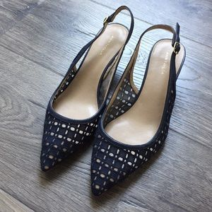 Ann Taylor Navy Perforated Slingback Heel